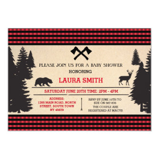 Lumberjack Baby Shower Woodland Invite Invitation