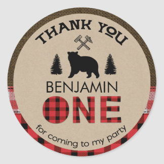Lumberjack Bear 1st Birthday Favor Sticker