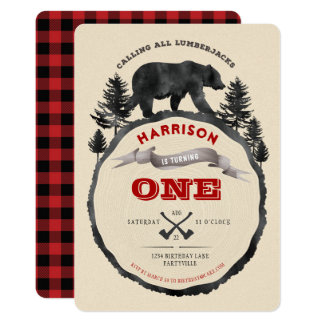 Lumberjack Bear Birthday Invitation