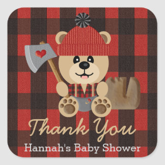 Lumberjack Bear in Diapers Baby Shower Thank You Square Sticker