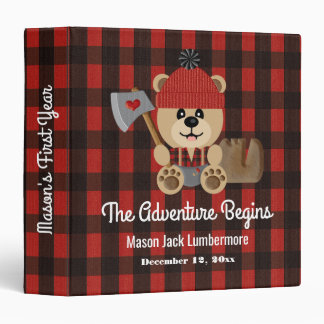 Lumberjack Bear Wilderness Baby's First Year Album Vinyl Binders