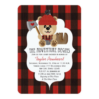 "Lumberjack Bear Wilderness Themed Baby Shower 5"" X 7"" Invitation Card"