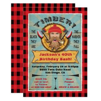 Lumberjack Beard Birthday Hipster Invitation