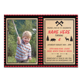 Lumberjack Birthday Invite Boys Check Invitations