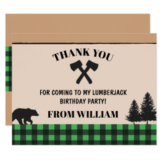 Lumberjack Check Birthday Party Thank You Cards
