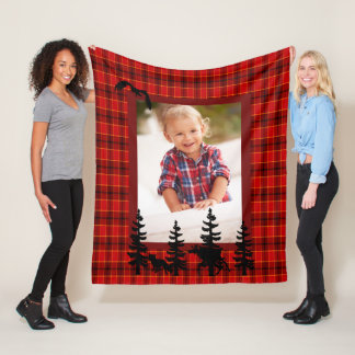Lumberjack custom photo red plaid pattern forest fleece blanket
