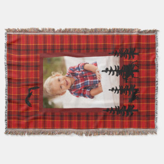 Lumberjack custom photo red plaid pattern forest throw blanket