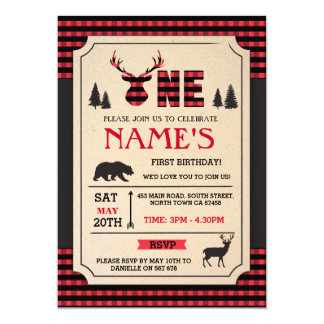 LUMBERJACK FIRST BIRTHDAY INVITE WOODLAND CHECK