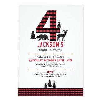 Lumberjack Flannel 4th 4 Birthday Party Invitation