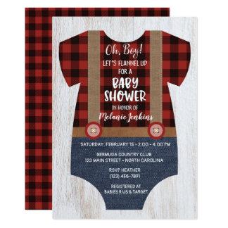Lumberjack Flannel Boy Baby Shower Invitation