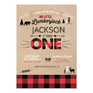Lumberjack Flannel First Birthday Invitation