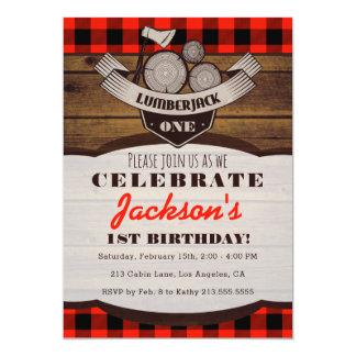 Lumberjack Flannel Woodsy Boy Birthday Invitation