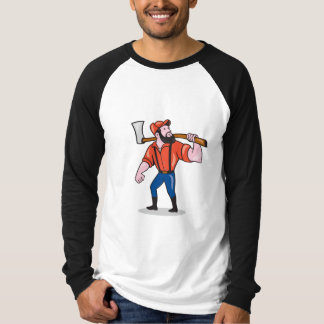 LumberJack Holding Axe Cartoon T-Shirt