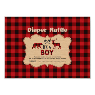 Lumberjack Little Hunter Boy Diaper Raffle Ticket Card