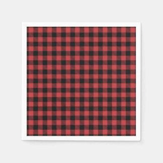 Lumberjack Paper Napkin Red Black Plaid checkered