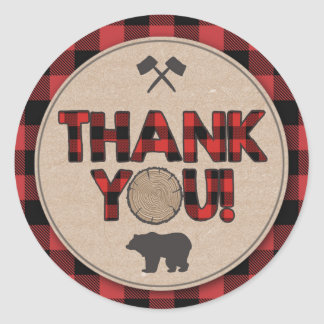 Lumberjack Party Favor Tags Thank You Sticker Bear