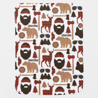 Lumberjack Pattern Baby Blanket Custom Name