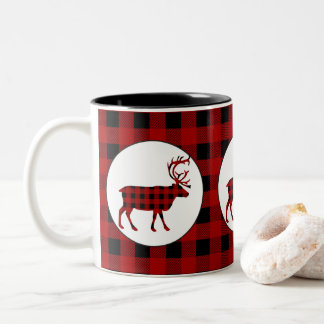 Lumberjack pattern Country moose coffee mug