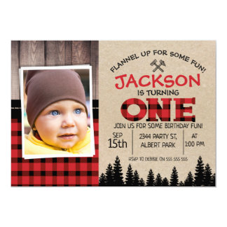 Lumberjack Photo 1st Birthday Invitation