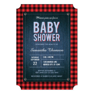 Lumberjack Plaid and Jean Baby Shower Invitation