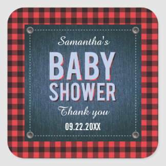 Lumberjack Plaid and Jean Baby Shower Sticker