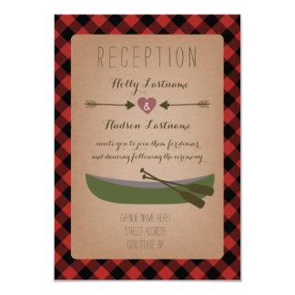 Lumberjack Plaid Canoe + Arrows Wedding Reception Card