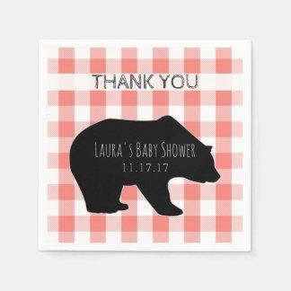Lumberjack Plaid Coral Checks | Bear Baby Shower Disposable Napkin