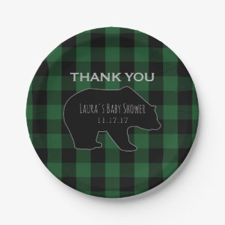 Lumberjack Plaid Green | Woodland Boy Baby Shower Paper Plate