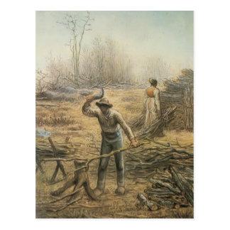 Lumberjack preparing firewood by Jean Millet Postcard