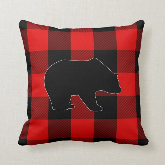 Lumberjack Red Buffalo Check | Bear Silhouette Throw Pillow