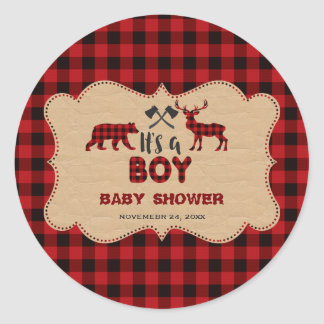 Lumberjack Red Buffalo Little Hunter Baby Shower Classic Round Sticker
