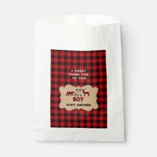 Lumberjack Red Buffalo Little Hunter Baby Shower Favour Bag