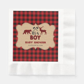 Lumberjack Red Buffalo Little Hunter Baby Shower Paper Napkins