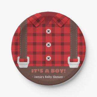 Lumberjack Red Buffalo Plaid Baby Boy Shower Plate