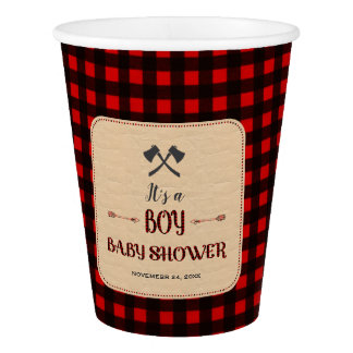 Lumberjack Red Buffalo Wild Hunter Baby Shower Paper Cup