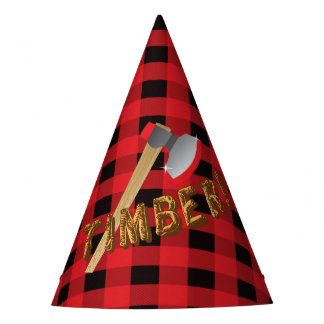 Lumberjack red plaid Birthday Party Hat