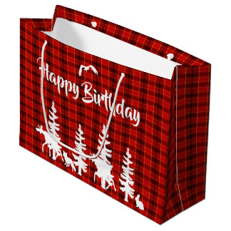 Lumberjack red plaid checked pattern Birthday Large Gift Bag