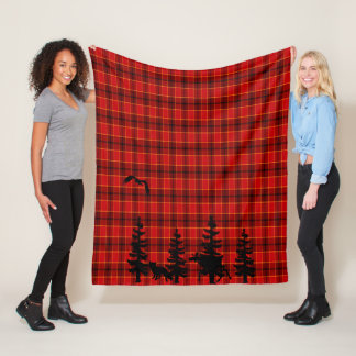 Lumberjack red plaid checked pattern black forest fleece blanket