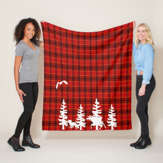 Lumberjack red plaid checked pattern white forest fleece blanket