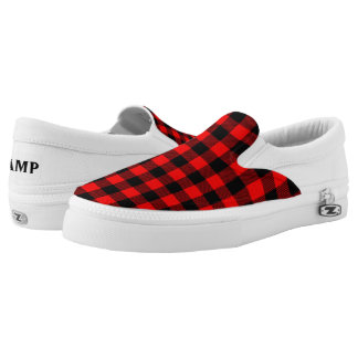 Lumberjack Style - red fabric + your ideas Slip-On Sneakers