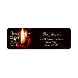 Lumière de Jésus du monde, bougie de Noël Étiquette D'adresse Retour