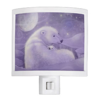 Lumière douce de nuit d'ours blanc d'hiver veilleuse