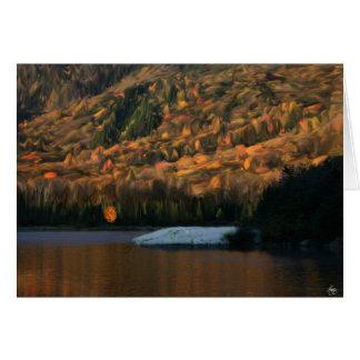 Lumière du soleil sur l'étang de castor de carte de vœux