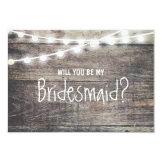 Lumière en bois rustique de ficelle vous serez ma carton d'invitation 8,89 cm x 12,70 cm