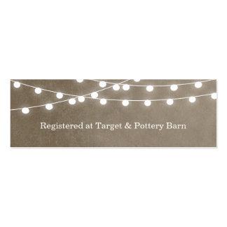 Lumières de ficelle d été épousant la carte d inse cartes de visite personnelles