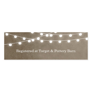 Lumières de ficelle d'été épousant la carte d'inse cartes de visite personnelles