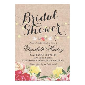 Lumières de ficelle et mariage nuptiale floral de carton d'invitation  12,7 cm x 17,78 cm