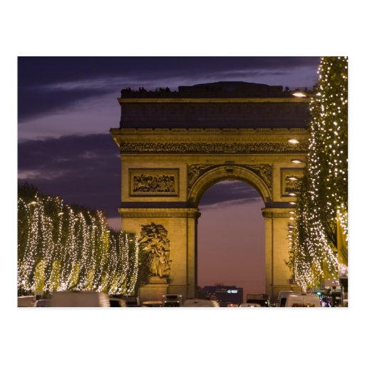 Lumières de Noël, champions Elysees, arc De Cartes Postales
