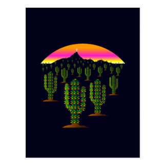Lumières de Noël de cactus de Saguaro de l'Arizona Carte Postale