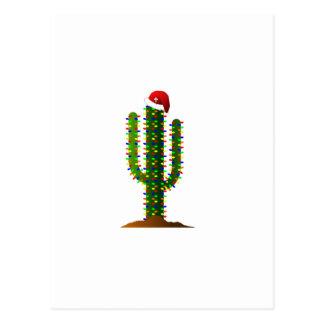 Lumières de Noël de cactus de Saguaro de l'Arizona Cartes Postales